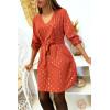 Jolie robe tunique cognac col V avec contour doré et motif avec losange doré