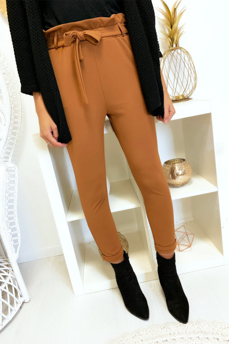 High waist camel pants with belt and pockets