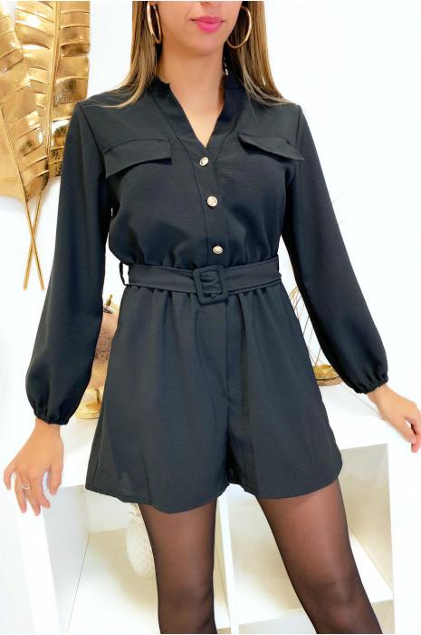 Combi-short noir boutonné devant avec ceinture