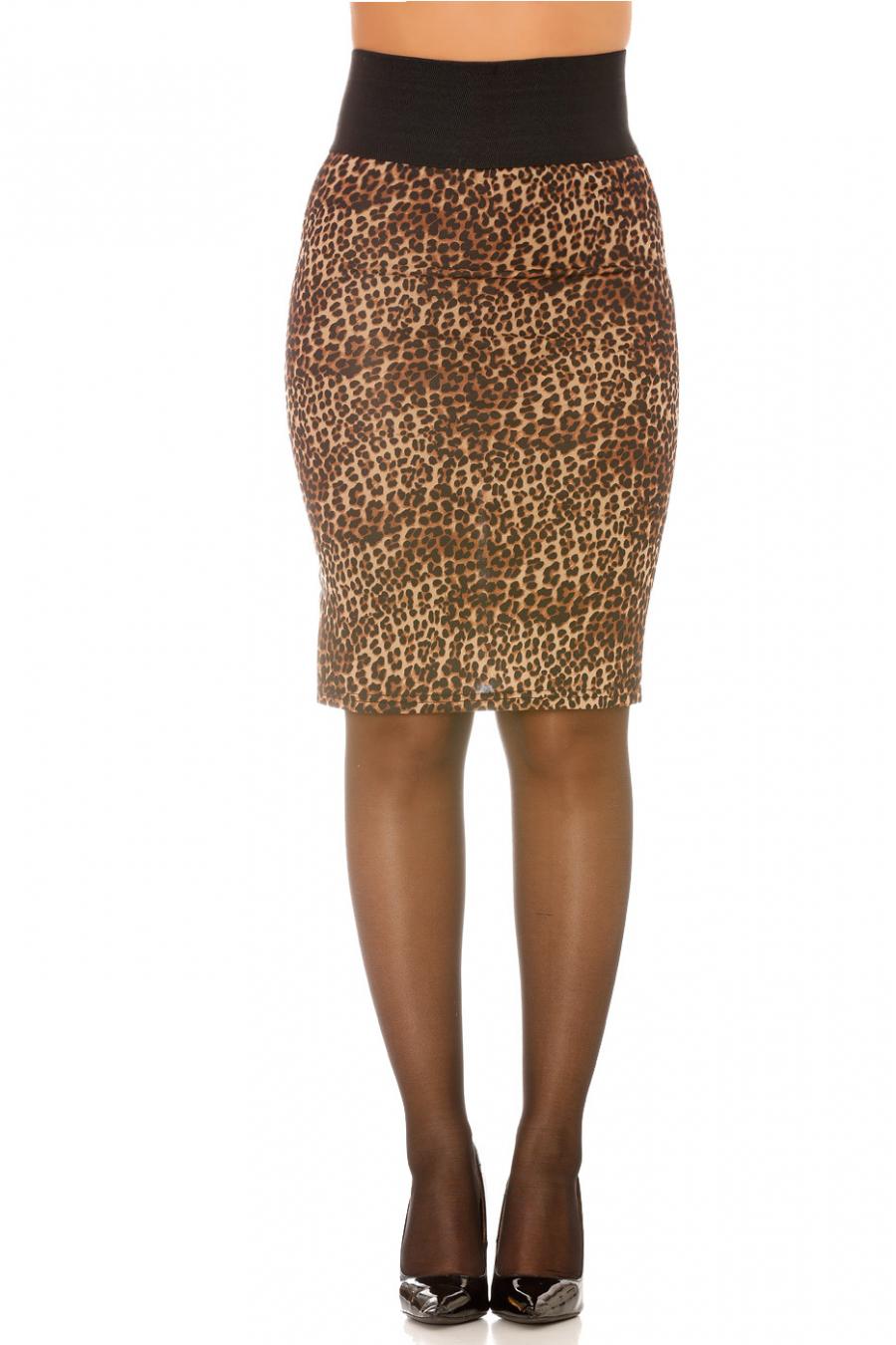 Jupe crayon motif léopard élastique à la taille. F-2261