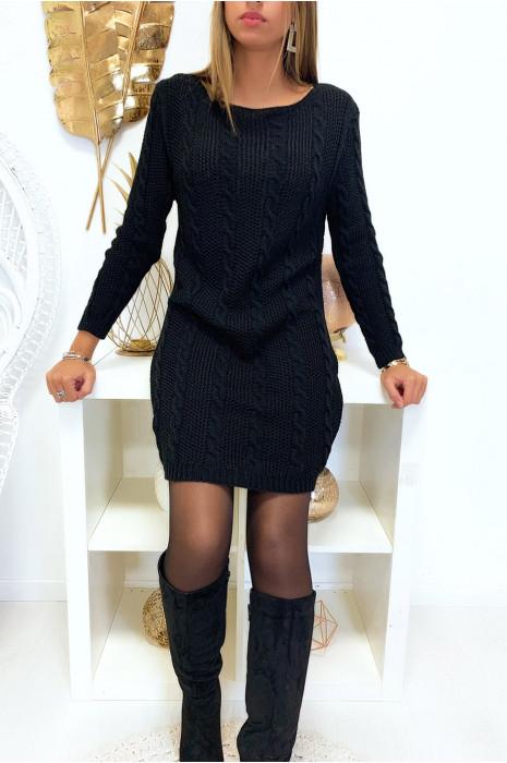 Joli robe pull torsadé noir en manche longue