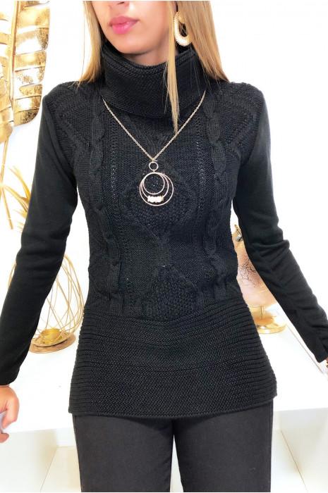 Pull noir col montant tressé à l'avant avec collier