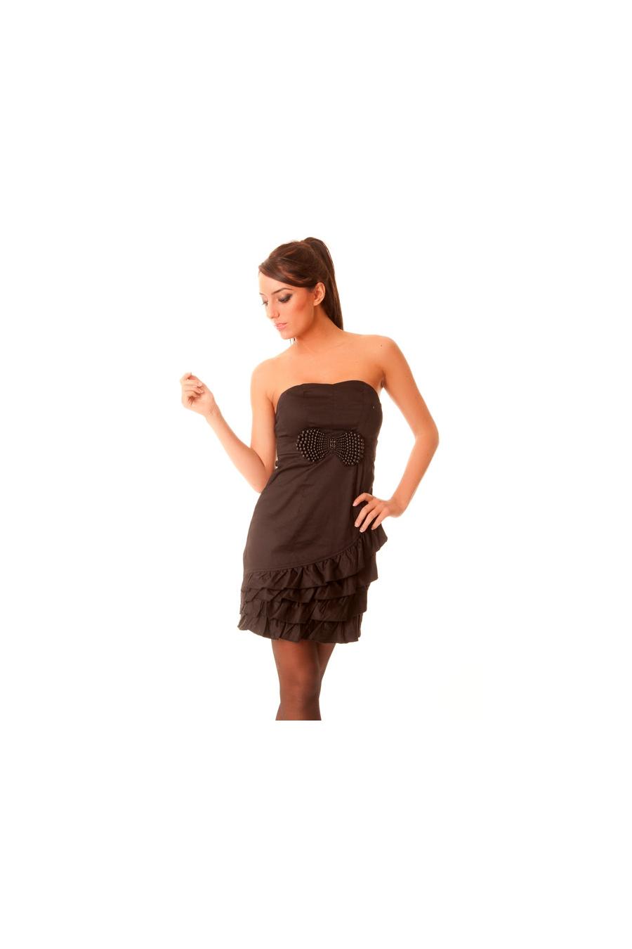 Robe noir avec noeud papillon en perles. 906