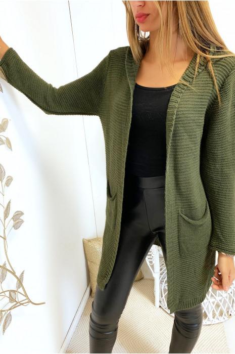 Long gilet kaki à capuche avec poches et capuche