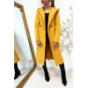 Magnifique manteau moutarde avec capuche, poches et ceinture