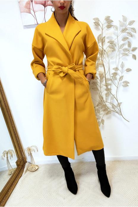 Magnifique manteau over size en moutarde croisé avec poches et ceinture