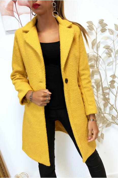 Magnifique manteau 3/4 en moutarde dans une belle matière chaude