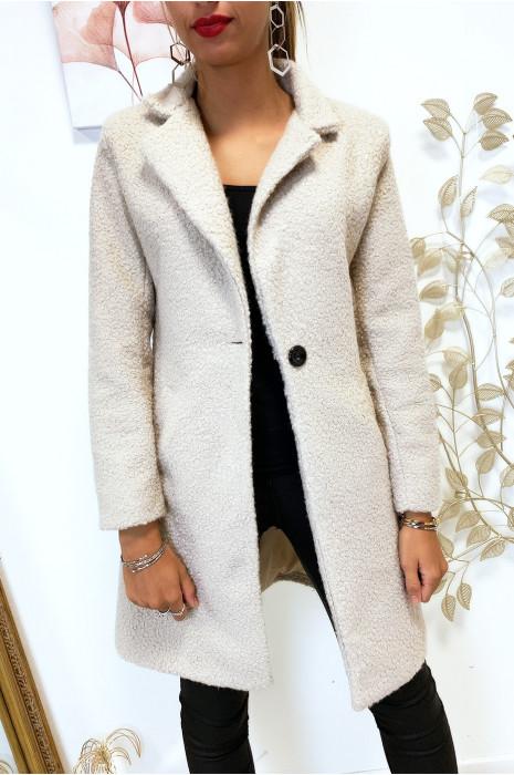 Magnifique manteau 3/4 en beige dans une belle matière chaude