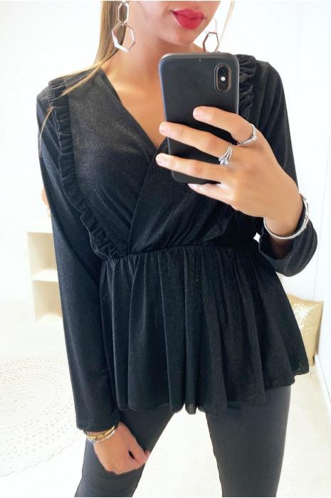 Jolie blouse noir croisé à l'avant avec froufrou dans une belle matière pailleté