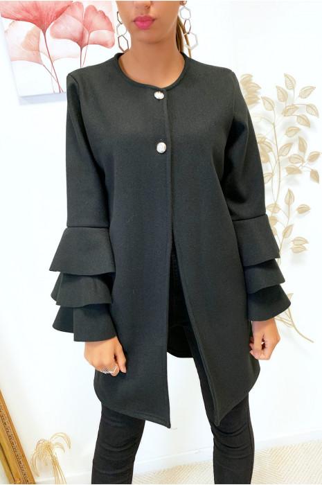 Veste noir très tendance boutonné au buste avec volants aux manches