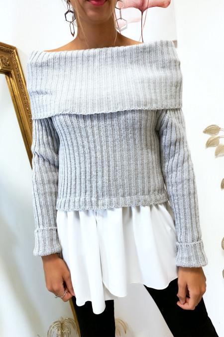 Mooie grijze boothals trui met ruche aan de onderzijde