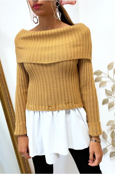 Mooie camel boothals sweater met ruche aan de onderkant