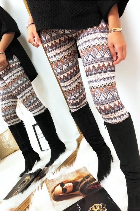 Legging chocolat  avec des motifs psychédéliques. G9-200