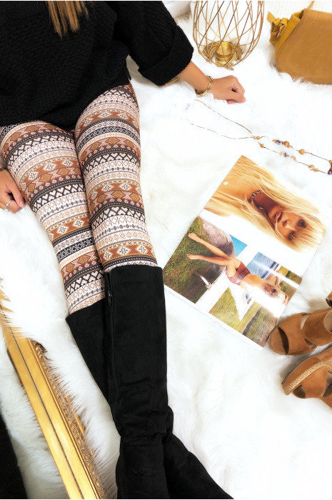 Joli legging imprimé aztèque en camel G9-240