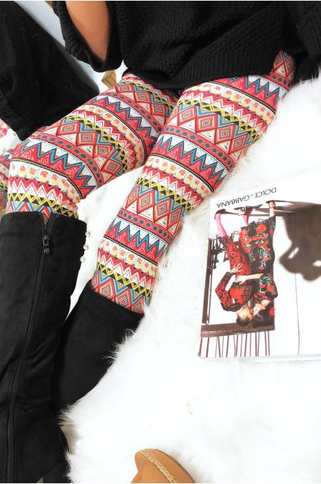 Legging avec motifs imprimés psychédéliques en rouge et jaune G9-200
