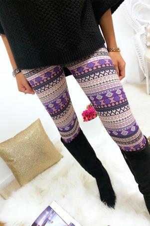 Nice aztec print leggings in magenta and beige G9-240