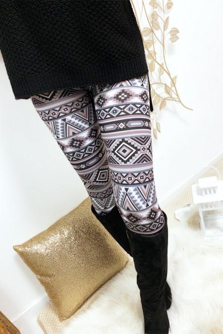 Legging avec imprimés à motifs géométriques noir et anthracite