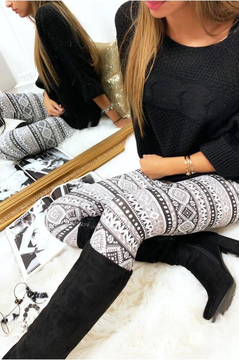 Legging noir et taupe à imprimés géométrique. G9-231