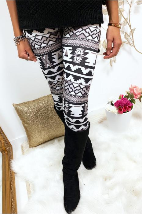 Magnifique legging noir et blanc motif aztèque 9-216