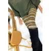Winterlegging van acryl in Khaki, Camel, Choco en mooi patroon. Goedkope legging. 105