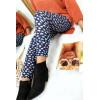 Leggings d'hiver acrylique en Marine avec jolie imprimé fleur. Leggings pas cher. 131