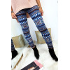 Acrylic winter leggings in Royal with pretty geometric pattern and sky on the waist. 147-1
