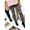 Winter leggings colored in Red and black, fantasy patterns and sky behind. Fashion style. 148-1
