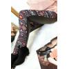 Leggings d'hiver coloré en Rouge et noir, motifs fantaisie et sky derrière. Style fashion. 148-1