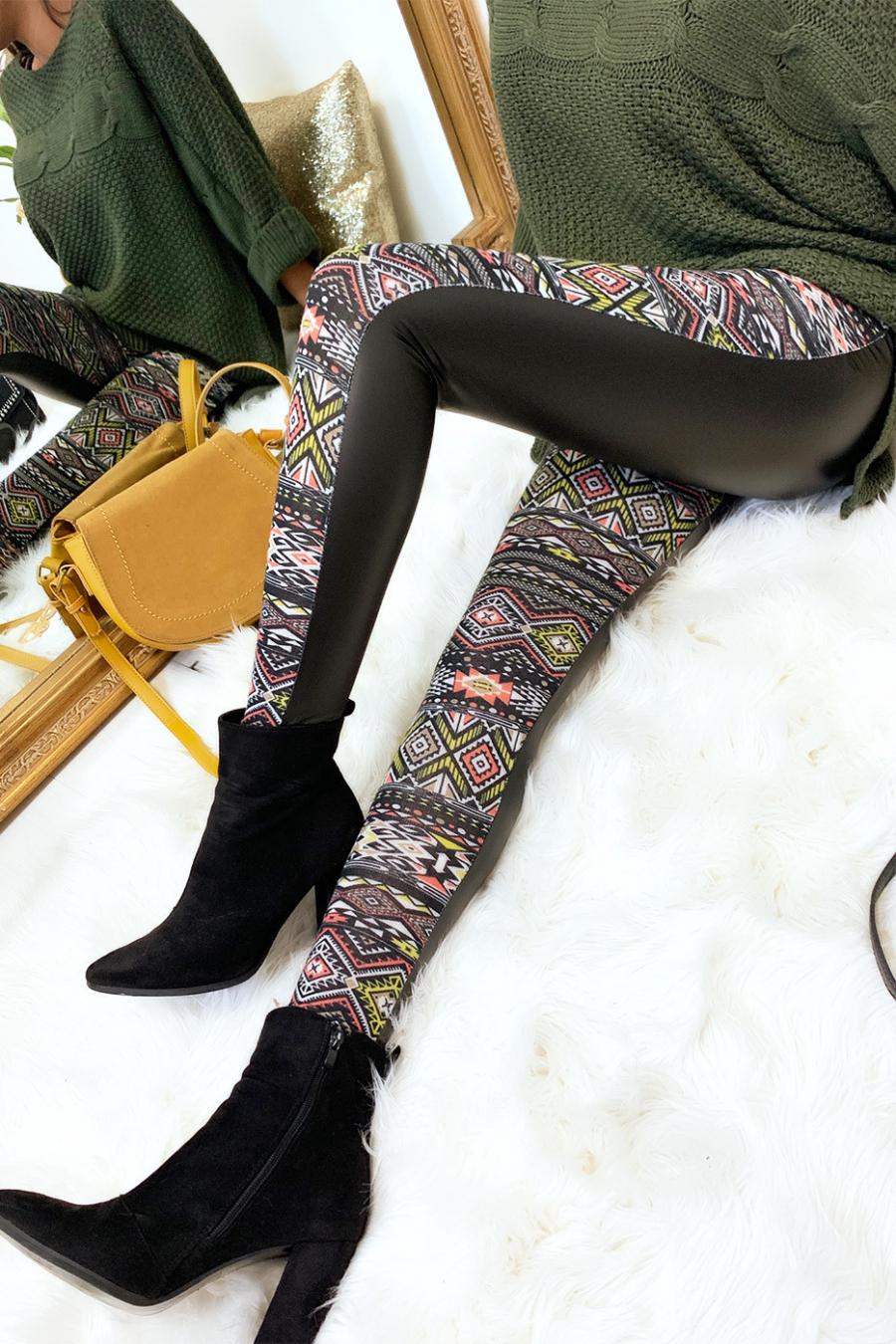 Leggings d'hiver coloré en Jaune et noir, motifs fantaisie et sky derrière. Style fashion. 148-3