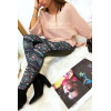 Colorful winter leggings in coral and black, fantasy patterns and sky behind. Fashion style. 148-2