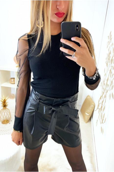 Short taille haute en simili cuir noir avec poche et ceinture a nouer