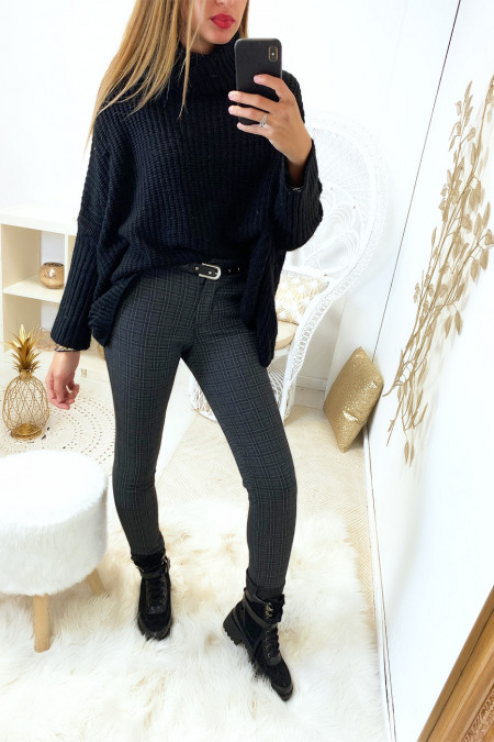 Beau pantalon noir a carreaux avec poche et ceinture