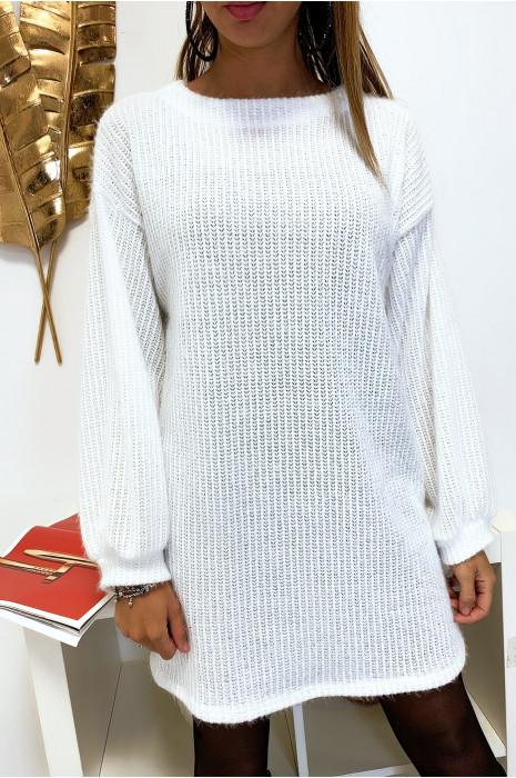 Robe tunique ample en maille blanche très douce