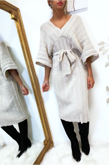 Magnifique robe kimono en maille plissé beige