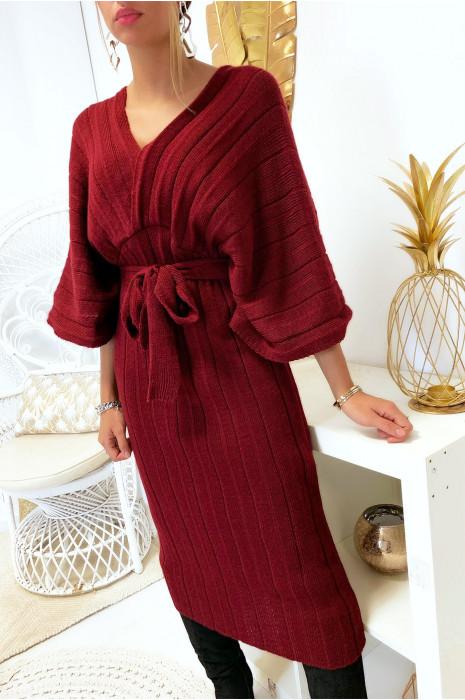 Magnifique robe kimono en maille plissé bordeaux