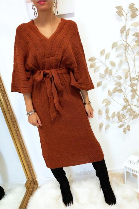 Magnifique robe kimono en maille plissé cognac