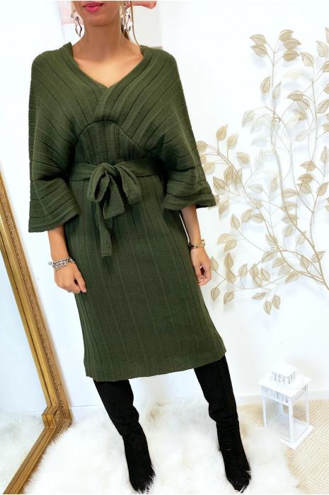 Magnifique robe kimono en maille plissé kaki
