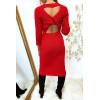 Longue robe pull rouge croisé au dos
