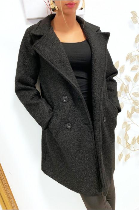 Magnifique manteaux noir croisé dans une chaude matière doublé