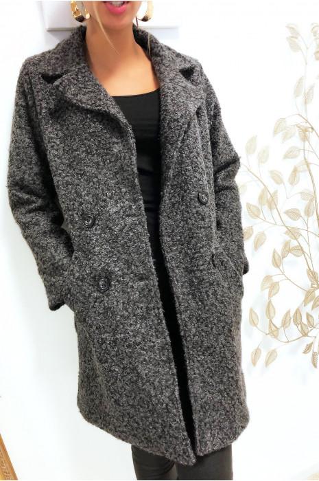 Magnifique manteaux anthracite croisé dans une chaude matière doublé