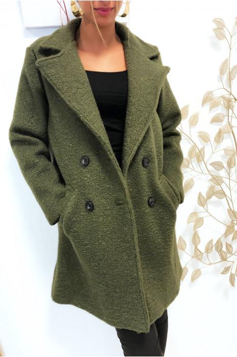 Magnifique manteaux kaki croisé dans une chaude matière doublé