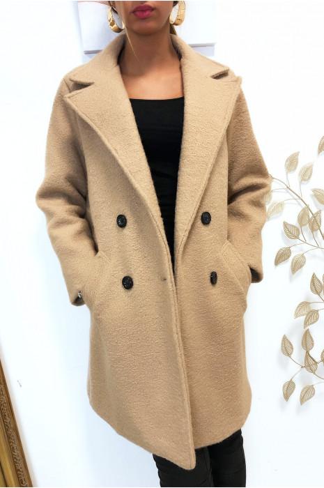 Magnifique manteaux beige croisé dans une chaude matière doublé