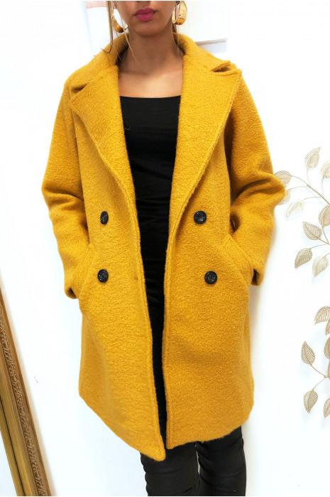 Magnifique manteaux moutarde croisé dans une chaude matière doublé