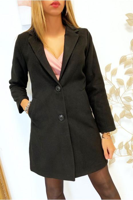 Jolie veste 3/4 noir doublé avec boutons et poches