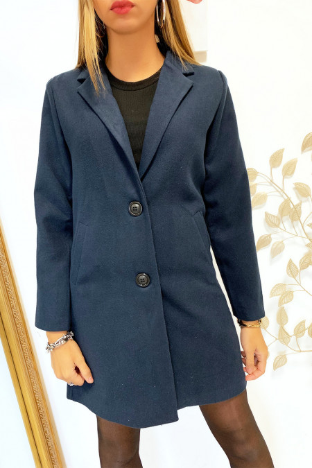 Pretty 3/4 navy jacket lined with buttons and pockets