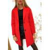 Jolie veste 3/4 rouge doublé avec boutons et poches