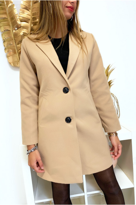 Jolie veste 3/4 camel doublé avec boutons et poches