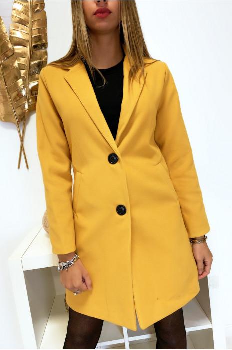 Jolie veste 3/4 moutarde doublé avec boutons et poches