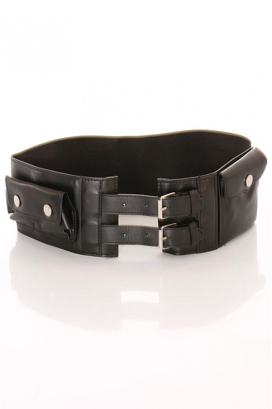 Brede zwarte riem, dubbele gesp en accessoirevakjes. D7235