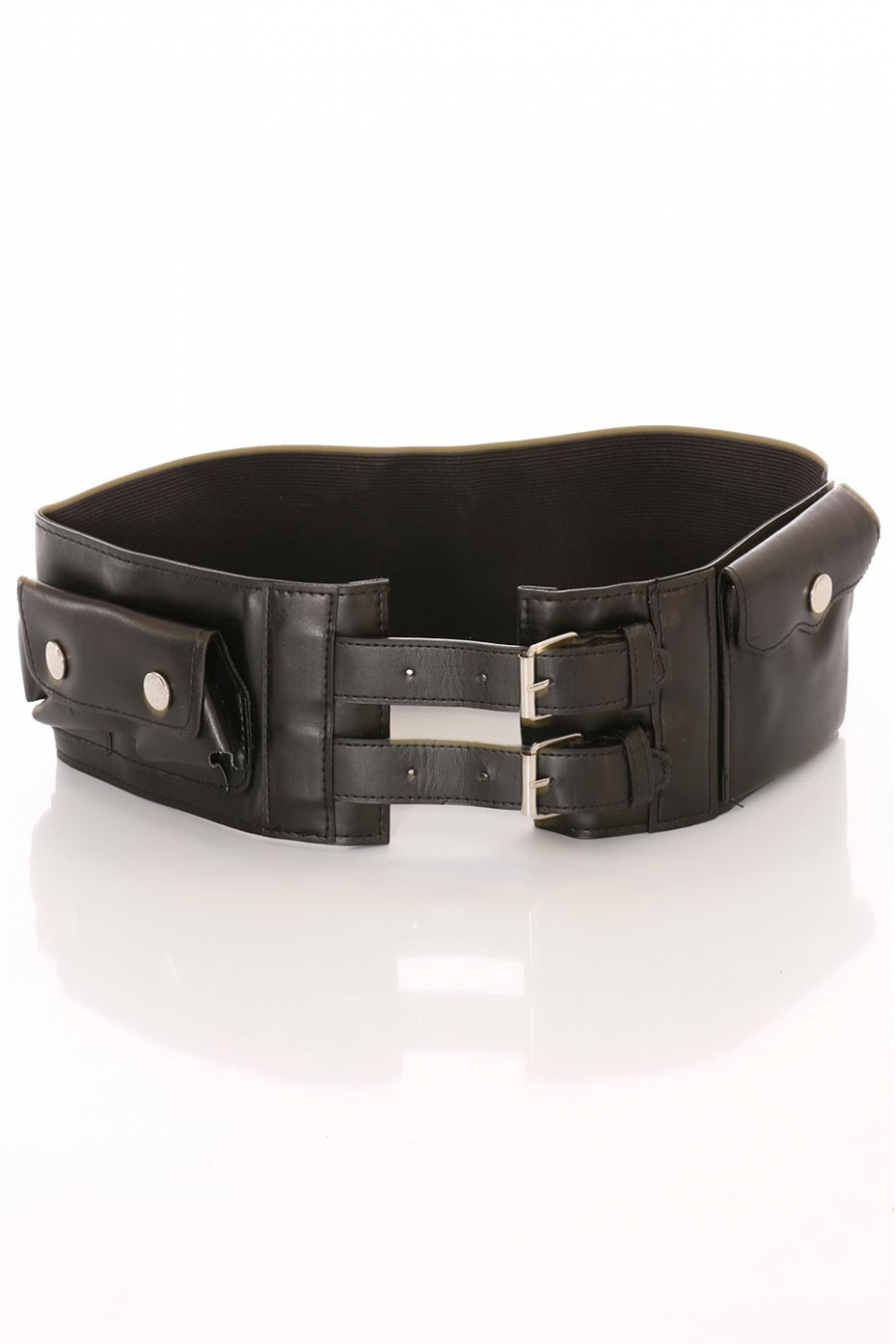 Wide black belt, double buckle and accessory pockets. D7235